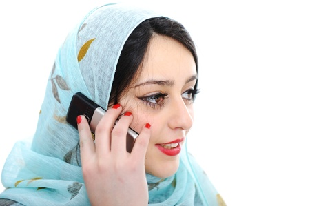 lady s: Arabic girl talking on cell phone