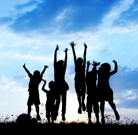 happy children: Happy children playing on hot summertime