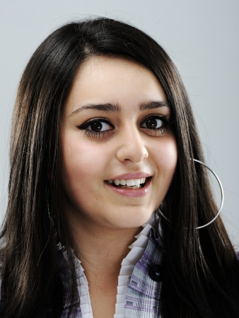 arab girl: Beautiful brunette girl face smiling