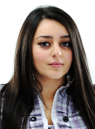 Beautiful brunette girl face photo