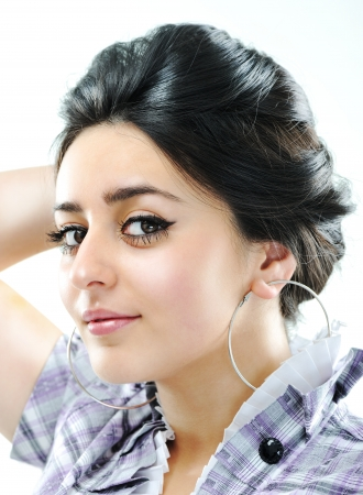 arab glamour: Beauty brunette girl with beautiful black hair Stock Photo