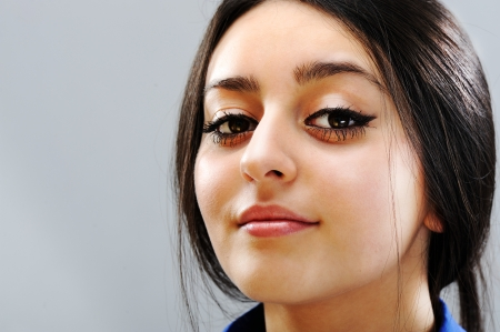 red indian: Beautiful brunette girl face