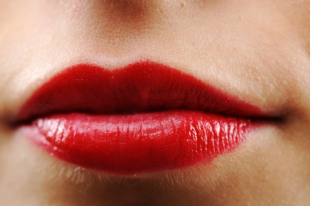 Beautiful brunette lips closeup photo