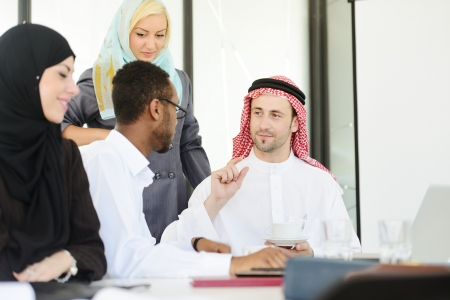 arab adult: Arabic people having a business meeting Stock Photo