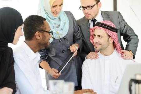 arab men: Arabic people having a business meeting Stock Photo