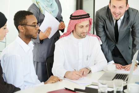 arab business: Arabic people having a business meeting Stock Photo