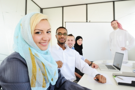 the gulf: Group of Arabic business people at work Stock Photo