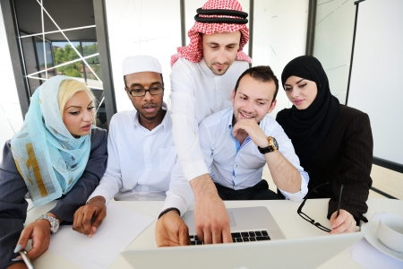 Group of multi ethnic business people at work photo