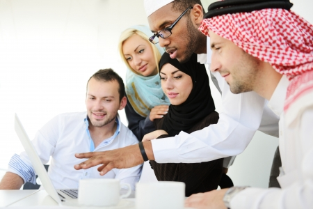 arab people: Group of Arabic business people at work Stock Photo