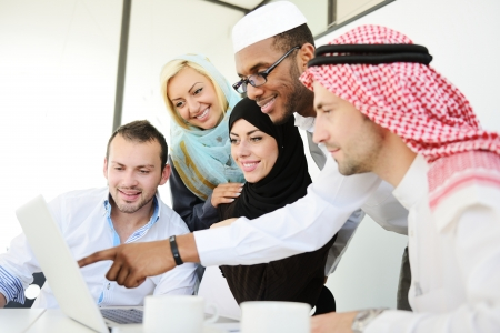 asian business women: Arabic people having a business meeting Stock Photo