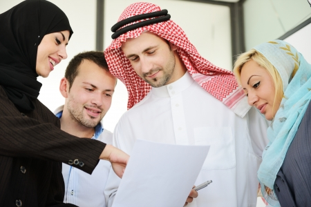 Group of Arabic business people at work Stock Photo
