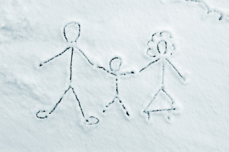 Drawing of family on snow photo