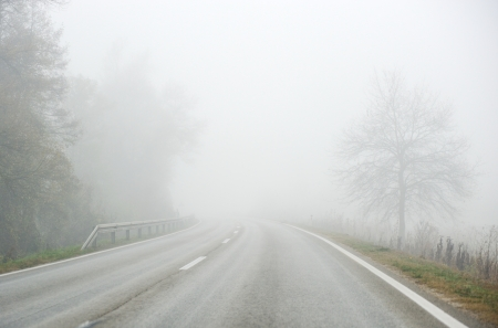 Road in fog photo