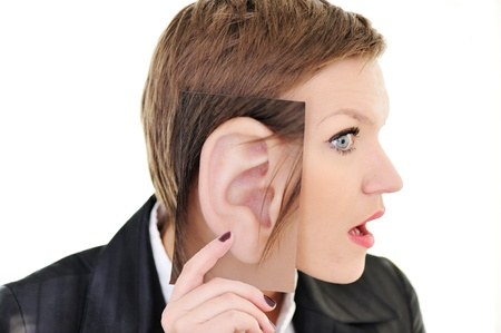 large woman: Woman with big ear concept