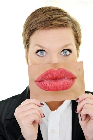 Mujer con el concepto de boca grande Foto de archivo - 18475399