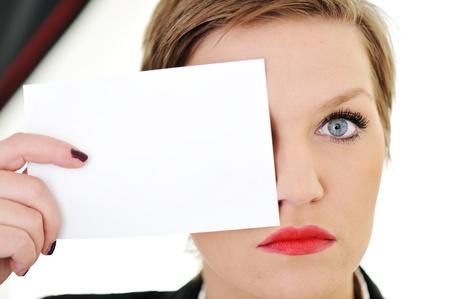 Woman with big eye concept photo