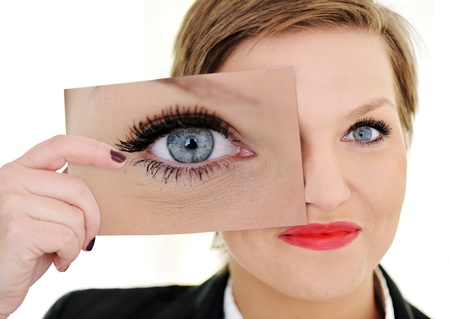 big women: Woman with big eye concept