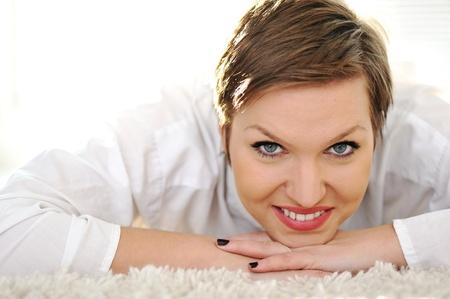 Natural happy young woman photo