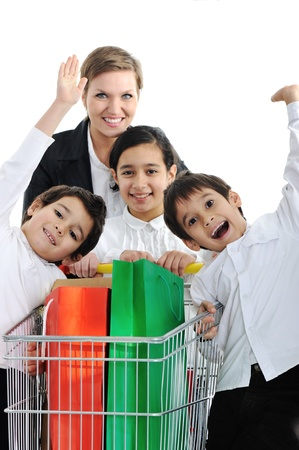 Mother with children in shopping photo