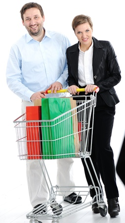 couple shopping together with cart photo