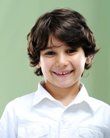 dark brown hair: Kid portrait Stock Photo