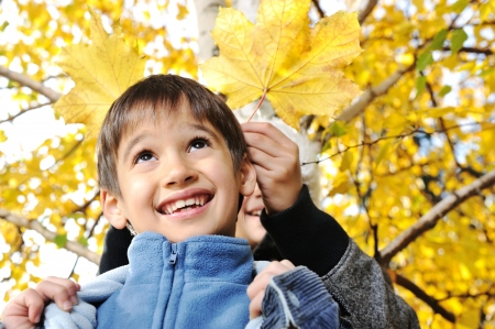 Happy kid and autumn leaves in a park photo