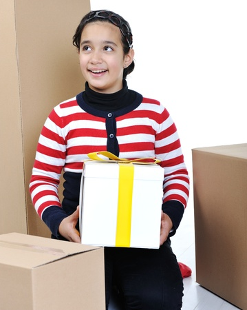 Girl holding paper box isolated photo
