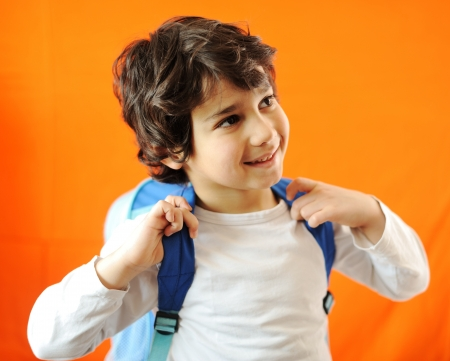 school bag: schoolboy