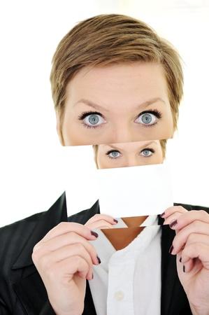 split lip: Schizophrenia woman with split personality Stock Photo