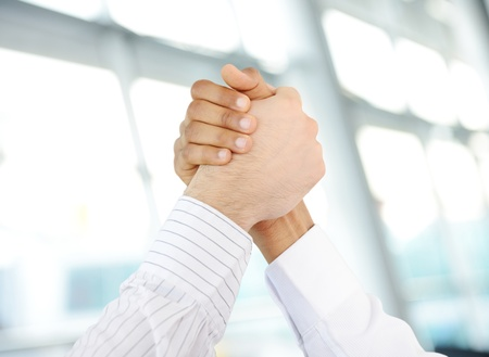 succesful: Successful business people hand shaking after great deal
