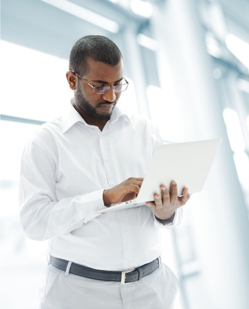 African American businessman with a laptop Stock Photo - 18513595
