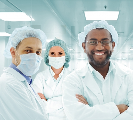 Scientists arabic team at modern hospital lab, group of doctors photo