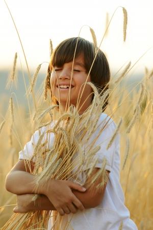 grain fields: Kid at wheat field hugging harvest grain