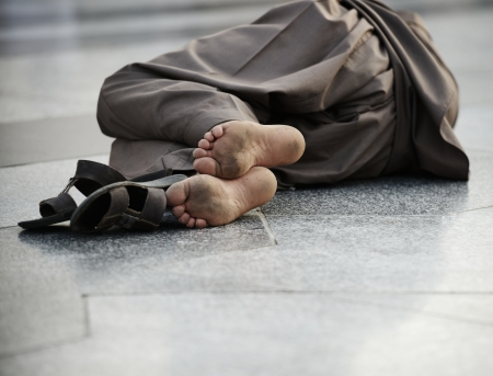 dweller: Pool man sleeping on street, poverty issue