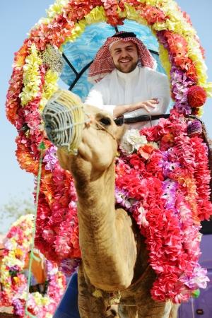 Man rides decorated camel photo