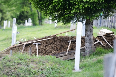 burial: Islamic fresh grave on cemetery