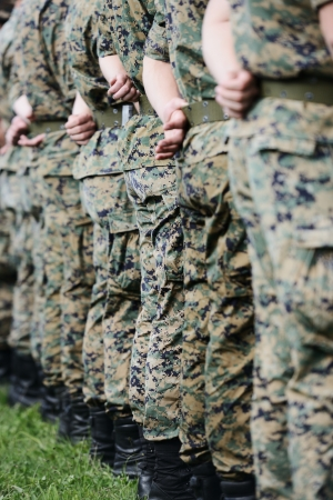 Soldiers with military camouflage uniform in army formation Stock Photo - 18478440