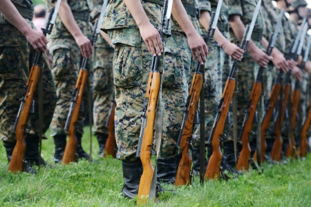 Soldiers with military camouflage uniform in army formation Stock Photo - 18478448