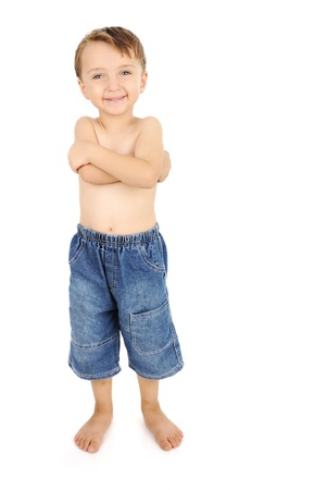 beautiful boys: portrait of happy kid shirtless smiling and posing over white background