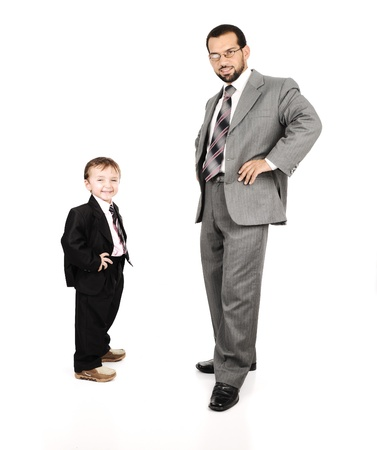 Young father and his son wearing suits photo