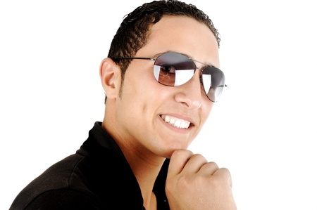 Closeup image of a middle eastern guy wearing sunglasses photo