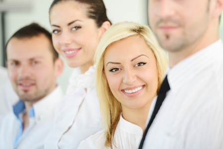 Successful business people standing in row Stock Photo - 18688354