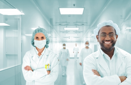 Scientists arabic team at modern hospital lab, group of doctors Stock Photo - 18703232