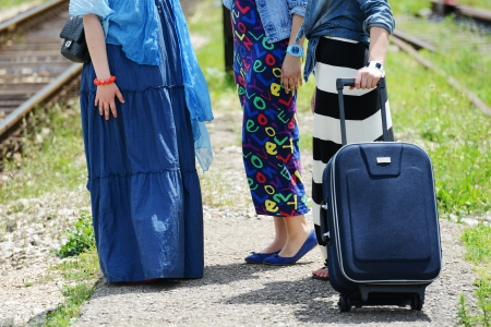 Three women traveling photo
