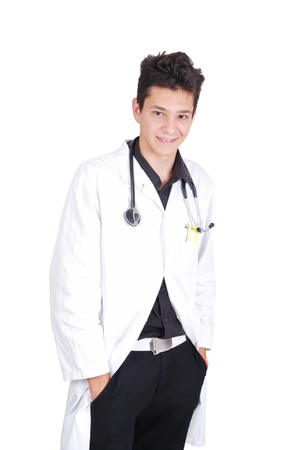 Young teenage male doctor with his hands in pockets Stock Photo - 19277766