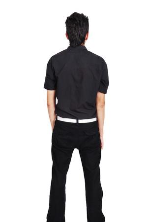 teenager ze zadní izolovaných na bílém