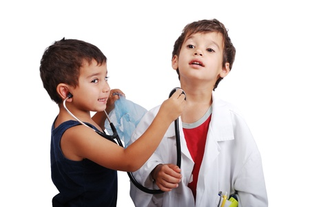 stethoscope boy: Two kids with health examination by stethoscope