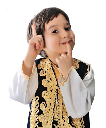 middle eastern clothes: Little boy in traditional middle-eastern clothes