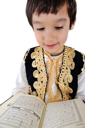 recite: Muslim kid reading holy Quran