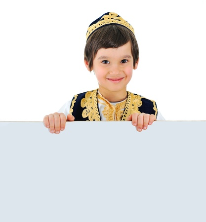 cultural clothing: Beautiful little kid with banner for your text message